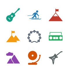 9 rock icons vector image
