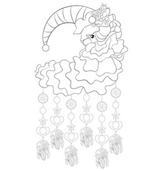 adult coloring bookpage a cute santa moon vector image