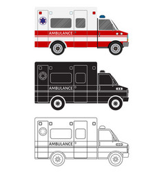 Ambulance car in three different styles color vector