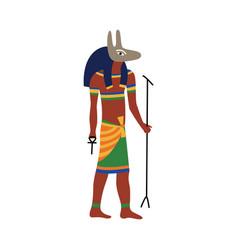 Ancient egypt god anubis cartoon drawing vector