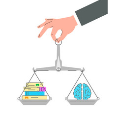 Balance scales with paper books and brain vector