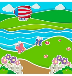 Balloon flying over the river vector