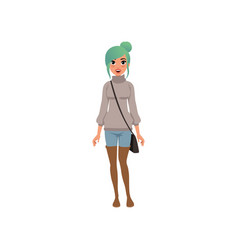 beautiful young woman with turquoise dyed hair vector image