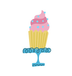 birthday cupcake on stand template card vector image