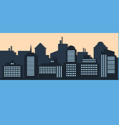 blue silhouette of city evening creative style vector image
