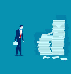 Busy businessman man and pile documents vector
