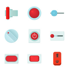 Button types icons set cartoon style vector