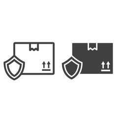 cardboard box protection line and glyph icon vector image