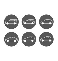 cars line icons set side view auto icons vector image
