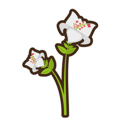 cartoon day lily flower branch decoration vector image