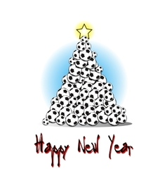 Christmas tree from soccer balls vector