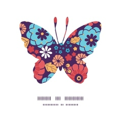 colorful bouquet flowers butterfly silhouette vector image