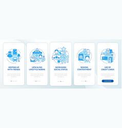 Consumerism motivation blue onboarding mobile app vector