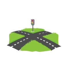 Crossroad icon cartoon style vector image
