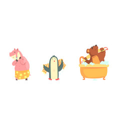cute animals bathing set hygiene and care vector image