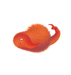 Cute hairy monster in white background vector