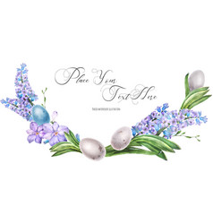 Decorative watercolor arc with hyachinth flowers vector