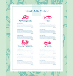 Delicious seafood - drawn template menu vector