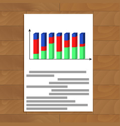 Document with 3d chart vector