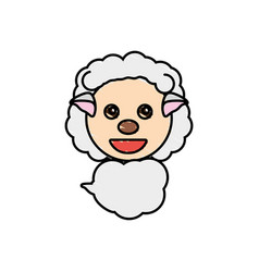 draw sheep animal comic vector image
