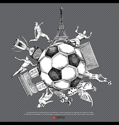 Drawing of soccer background vector