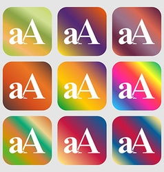 Enlarge font aA icon sign Nine buttons with vector