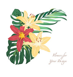 Exotic lily flowers tropical greenery bouquet vector