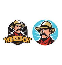 farmer emblem farm agriculture symbol vector image