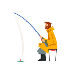 Fisherman sitting on shore with fishing rod vector