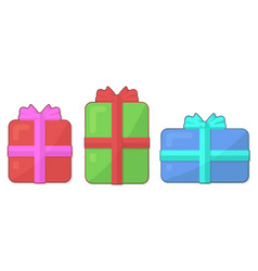 flat icon set with gift boxes on white background vector image