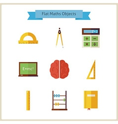 Flat School Maths and Physics Objects Set vector image