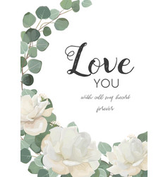 Floral design card with white flowers leaves vector