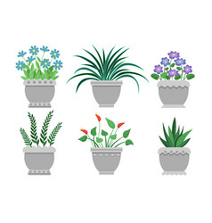 Flower pots set of grey color vector