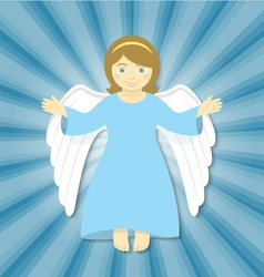 Flying Christmas Angel with Open Arms vector