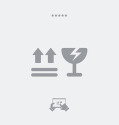 fragile warning symbols- minimal icon vector image