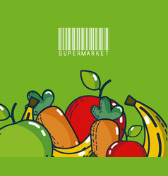 Fruits and vegetables super market products vector