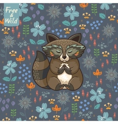 Funny little raccoon meditates on the meadow vector image