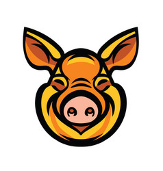Funny smiling orange pig vector