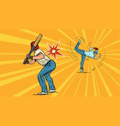 game baseball pitcher throws ball vector image