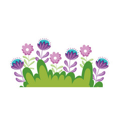 Garden bush with flowers natural scene vector