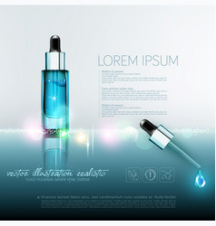Glass vial with professional facial serum with a vector