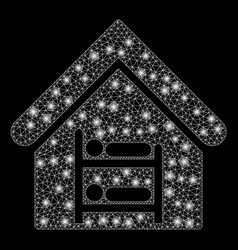 glowing mesh carcass hostel with flash spots vector image