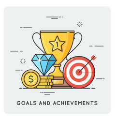 Goals and achievements flat vector