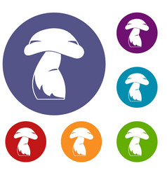 Good mushroom icons set vector