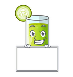 grinning with board character fresh juice of green vector image