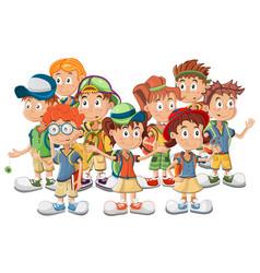 Group of school children vector