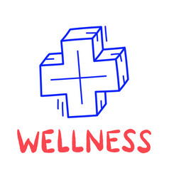 hand draw doodle wellness medical cross icon in vector image