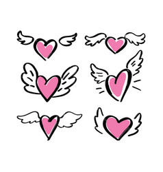 Hand drawn hearts with wings on a white vector