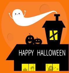 happy halloween flying bat haunted house roof vector image