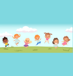 happy jumping kids funny children playing and vector image